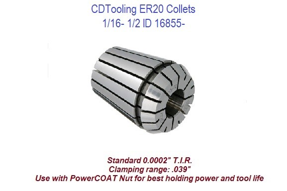 ER20 Collets 1/16 - 1/2 Inch ID 16855-