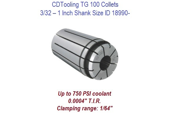 TG100 Collets - 3/32 - 1 Inch Shank Size ID 18990-