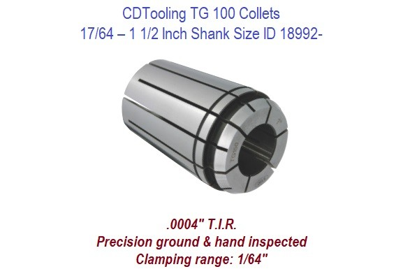 TG150  Collets - 17/64 - 1 1/2 Inch Shank Size ID 18992-