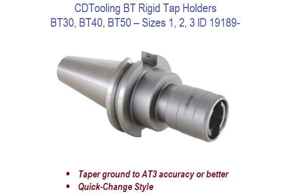 Sizes 1 2 3 - BT30 BT40 BT50 - Rigid Tap Holders  ID 19189-