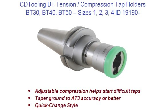 BT30 BT40 BT50 - Tension Compression Tap Holders - Sizes 1 2 3 4  ID 19190-