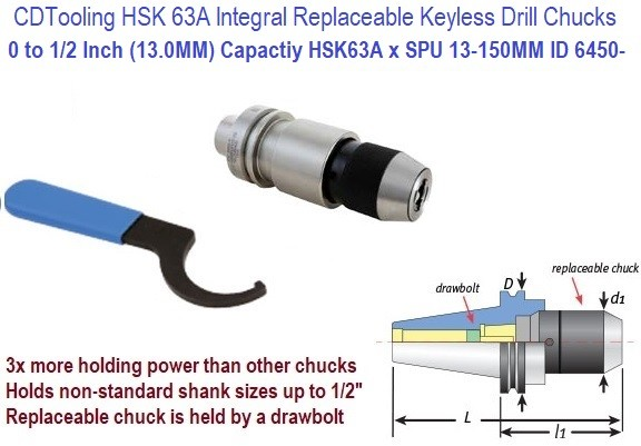 HSK 63A Integral Replaceable Keyless Drill Chucks 0 to 1/2 Inch (13.0MM) Capactiy HSK63A x SPU 13-150MM ID 6450-