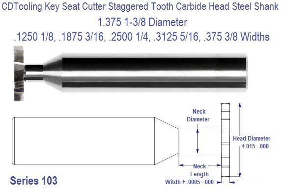 1.375 1-3/8 inch Diameter Key Cutter Carbide Head Staggered Tooth 1/8, 3/16, 1/4 5/16 3/8 Widths Series 103