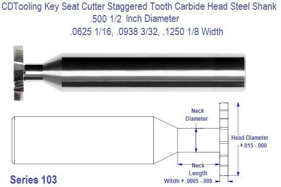 .625 5/8 inch Diameter Key Cutter Carbide Head Staggered Tooth 3/32, 1/8, 5/32, 3/16, 1/4  Widths Series 103