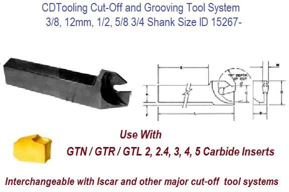 GTHL, GTHR, Cut Off, Grooving, Parting Tool Holder for use with GTN, GTR, GTL Inserts ID 15267-