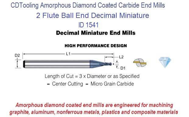 Amorphous Diamond Coated 2 Flute Decimal Size Micro Ball End Mills 0.010-0.125