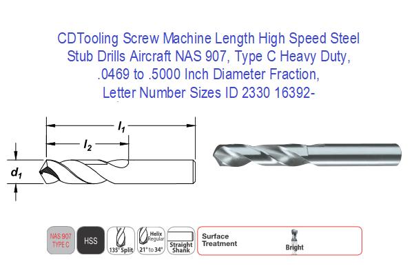 "Length Drill - USA 135° Pt 12 Pieces HSS Screw Machine #35 Stub .1100/"""