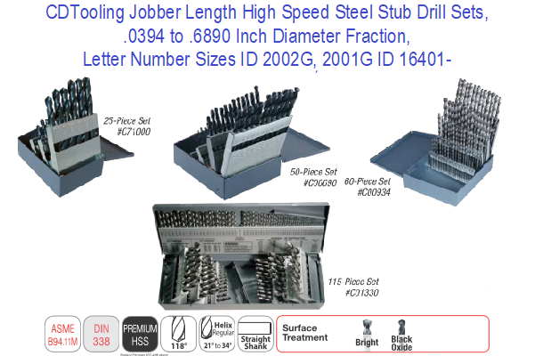 Jobber Length High Speed Steel Stub Drill Sets, .0394 to .6890 Inch Diameter Fraction, Letter Number Sizes ID 2002G, 2001G ID 16401-