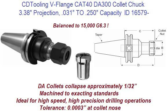 CAT40 DA300 .031 to .250 Inch Capacity Collet Chuck Balanced to 15,000 G6.3 ID 16579-