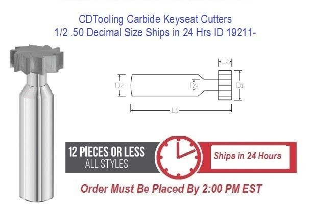 1/2 .50 Decimal Size Carbide Keyseat Cutters Ships in 24 Hrs ID 19211-
