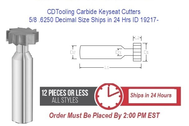 5/8 .6250 Decimal Size Carbide Keyseat Cutters Ships in 24 Hrs ID 19217-