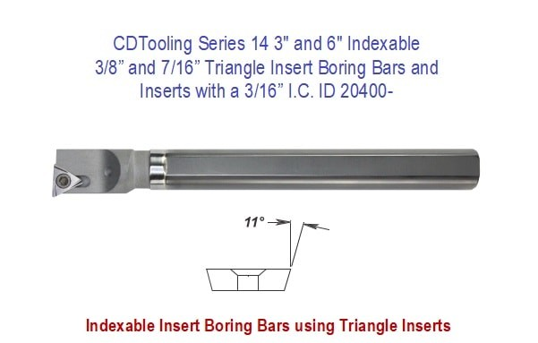 Triangle Insert Boring Bars and Inserts with a 3/16 I.C., Series 14, 3