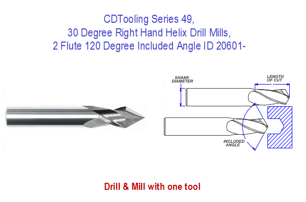30 Degree Right Hand Helix Drill Mills, Series 49, 2 Flute 120 Degree Included Angle ID 20601-