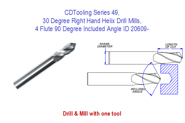 30 Degree Right Hand Helix Drill Mills, Series 49, 4 Flute 90 Degree Included Angle ID 20609-