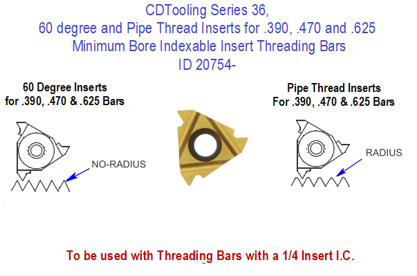 60 Degree and Pipe Thread Inserts for .390, .470 and .625 Minimum Bore Indexable Insert Threading Bars, Series 36, ID 20754-