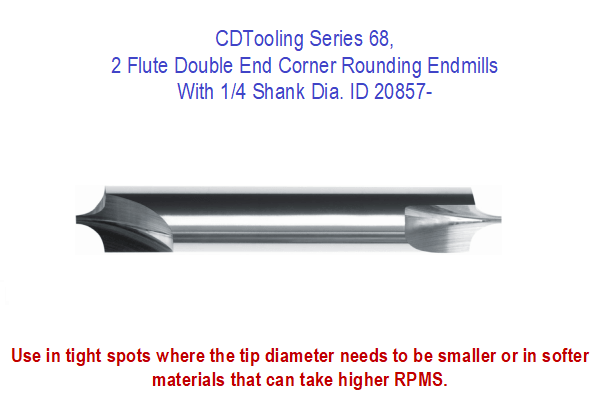 Series 68, 2 Flute Double End Corner Rounding Endmills with 1/4 Shank Dia. ID 20857-