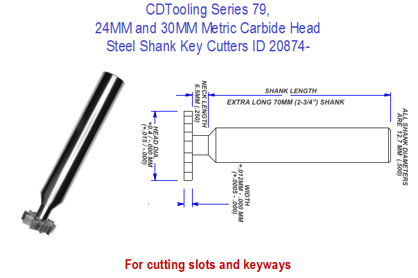 Series 79, 24MM and 30MM Metric Carbide Head Steel Shank Key Cutters ID 20874-