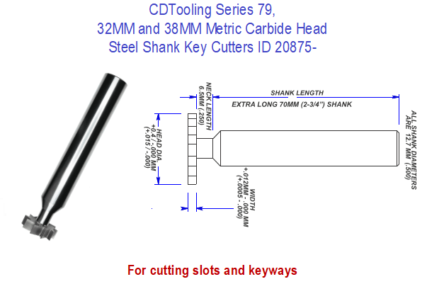 Series 79, 32MM and 38MM Metric Carbide Head Steel Shank Key Cutters ID 20875-