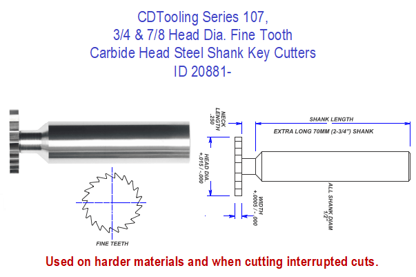 Series 107, 3/4 and 7/8 Head Dia. Fine Tooth Carbide Head Steel Shank Key Cutters ID 20881-
