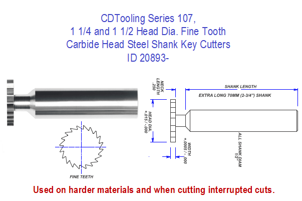 Series 107, 1 1/14 and 1 1/2 Head Dia. Fine Tooth Carbide Head Steel Shank Key Cutters ID 20893-