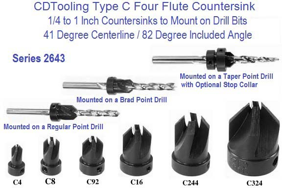 82 Degree Countersink to Mount on Drill Bits Type C 1/4 to 1 inch diameter Series 2643