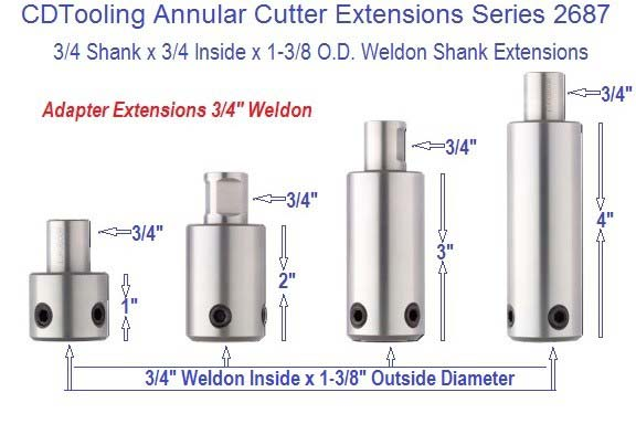 Annular Cutter Extensions 3/4 Inch Weldon x 1, 2 ,3 4, Inch, Lengths Series ID 2687-