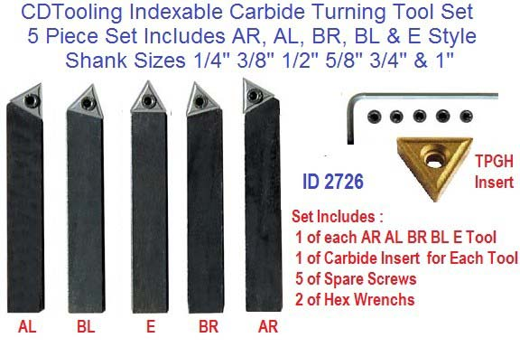 Indexable Carbide Turning Tools AR AL BR BL E Individual and Sets ID 2726