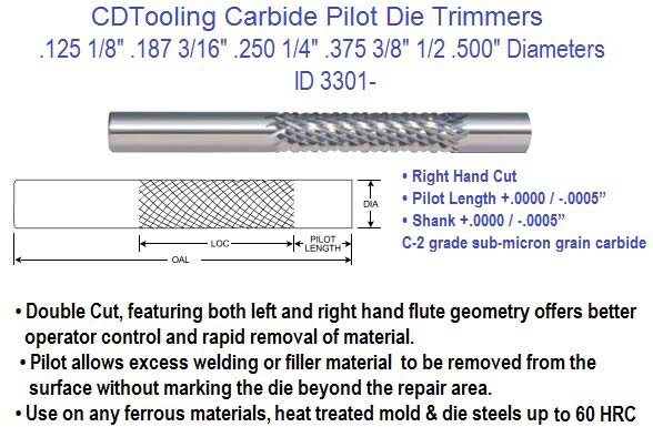 Carbide Pilot Die Trimmers 1/8 3/16 1/4 3/8 1/2 Diameters Pieces ID 3301-