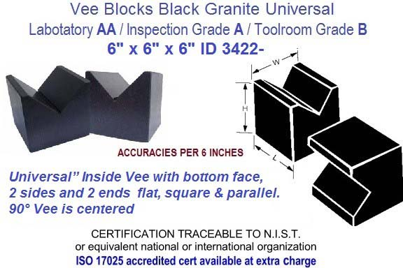 6 x 6 x 6 AA Laboratory, A Inspection, B Toolroom, Universal Vee Blocks Black Granite ID 3422-