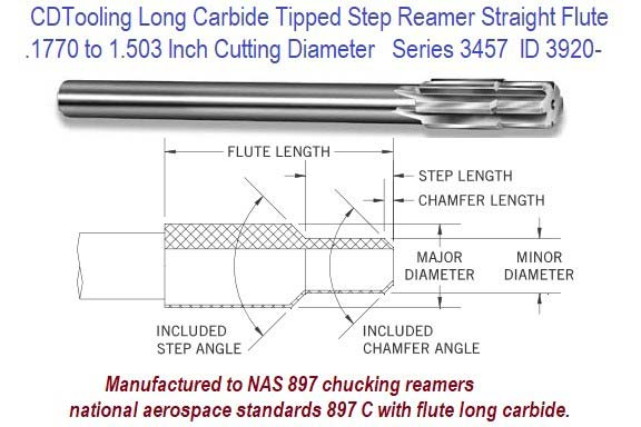 .1770 to 1.503 Inch Diameter 3457 Step Reamer Carbide Tipped Straight Flute Long Carbide for Non-Ferrous ID 3920-
