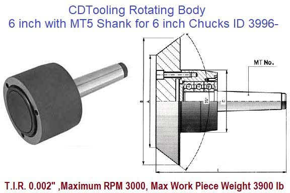 Rotating Chuck Lathe Body 6 inch with MT5 Shank for 6 inch Chucks ID 3996-3-573-065P