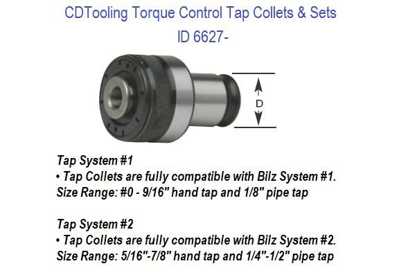 Torque Control Tap Collets and Sets, 0 to 7/8 Hand Taps 1/8 to 1/2 NPT Compatible with Universal-Bilz ID 6627-