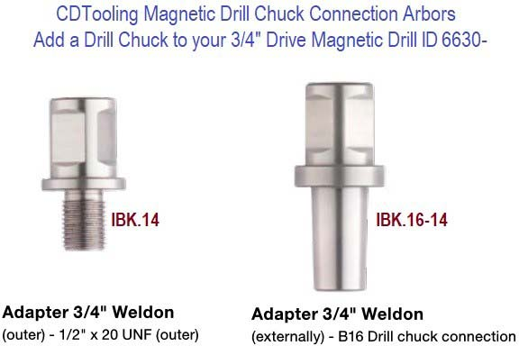 Magnetic Drill Chuck Connection 3/4 Weldon to 1/2-20 and B16 Drill Chuck ID 6630-