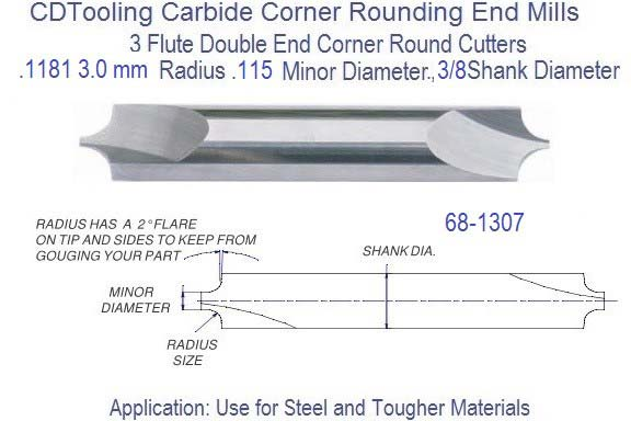 .1181 3.0 x .115 Minor Diameter x 3/8 inch Shank Corner Round End Mill  68-1307 id 2514-