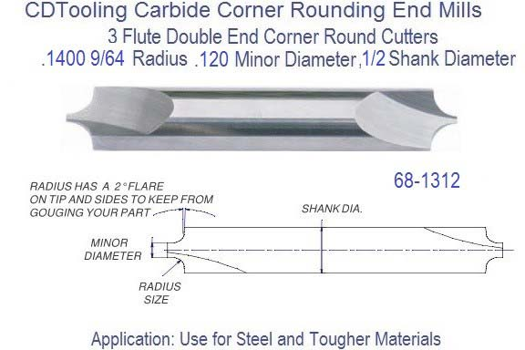 .1400 9/64 x .120 Minor Diameter x 1/2 inch Shank Corner Round End Mill  68-1312 ID 2512-