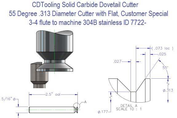 DS313-025-55 (3-4) flute solid carbide dovetail cutter to machine 304B stainless ID 7722-