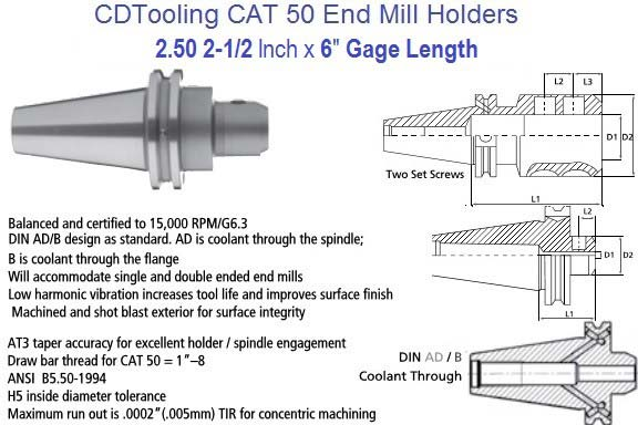 2.5 2-1/2 Inch CAT 50 End Mill Holder 6 Inch Gage Length