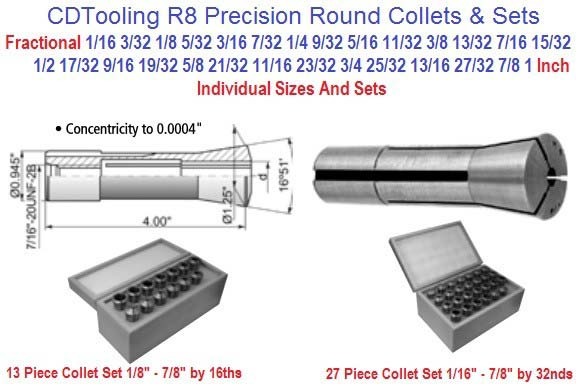 R8 Collets Inch Sizes 1/16 to 1