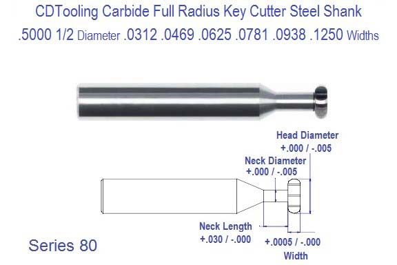 .5000 1/2 Diameter .0312 .0469 .0625 .0781 .0938 .1250 Width Full Radius Carbide Key Cutter Steel Shank Series 80