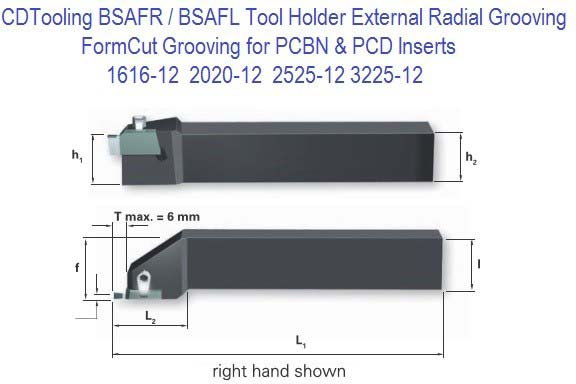 BSAFR BASFL 1616, 2020, 2525, 3225, External Grooving & Threading Toolholder for PCD PCBN Inserts