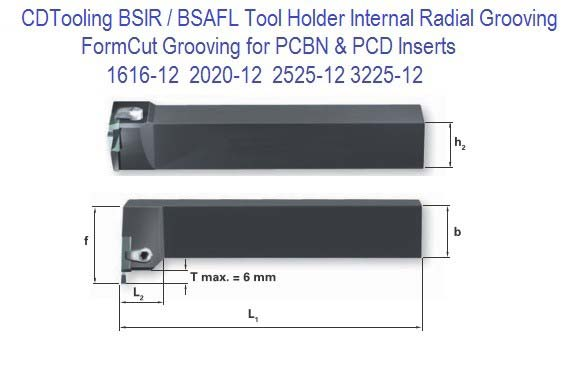 BSIFR BISFL 1616, 2020, 2525, 3225, Internal Grooving & Threading Toolholder for PCD PCBN Inserts
