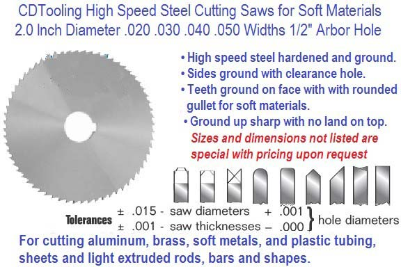 2.0 Inch Diameter .020 .030 .040 .050 Widths Cutting Saw HSS Precision Ground ID 3133-