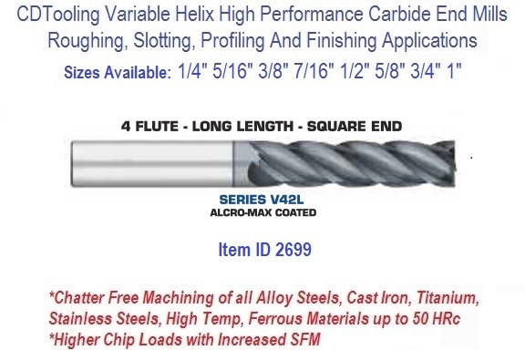 """3//16/"""" 4 Flute Variable Index High Performance Carbide End Mill"""