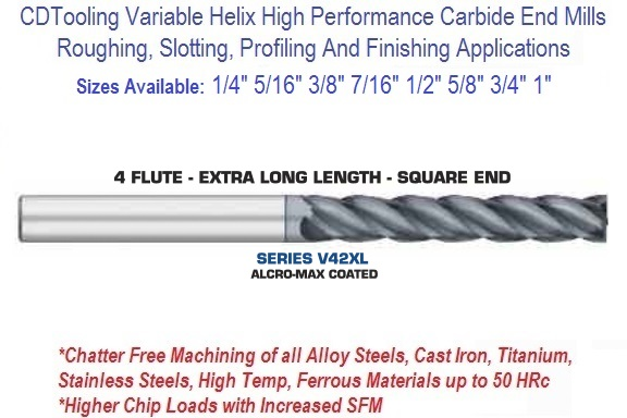 """5//16/"""" 4 Flute Long Length Solid Carbide End Mill"""