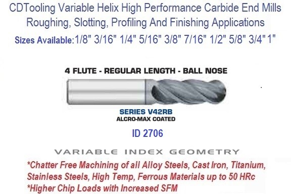 Variable Index Carbide End Mill 1/8 3/16 1/4 5/16 3/8 7/16 1/2 5/8 3/4 1 Inch 4 FL Ball Nose Regular Length ID 2706 Series V42RB