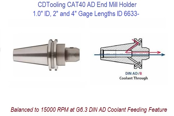 100 Id X 2 And 4 Inch Gage Length Cat40 End Mill Holder Balanced To