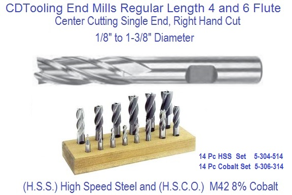 "1-1//16 x 3//4/"" Shank 6F HSS Single End Mill"