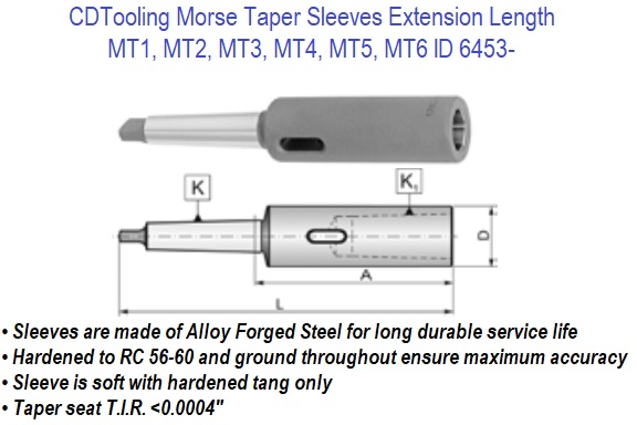 MT3 Morse Taper Extension Sleeve Socket Engineering Tools Drill Tool 36mm Diameter x 215mm Length MT3