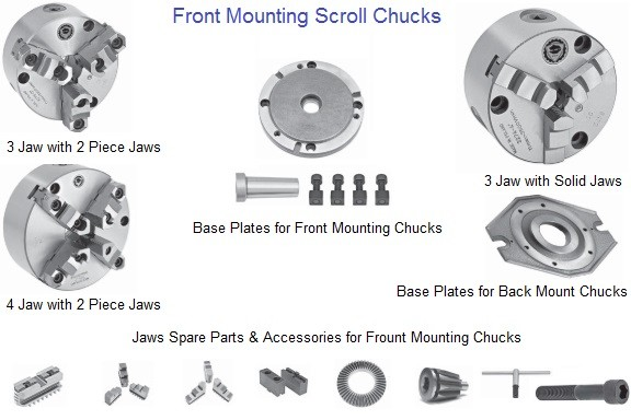 Lathe Chuck 3 and 4 Jaw Front Mounting Scroll Chucks 4 5 6 8 10 12 16 Inch Bison Bial