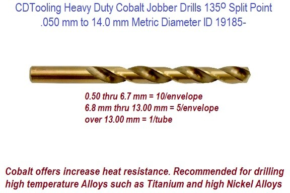 Metric Heavy Duty Cobalt Jobber Drills with 135 Degree Split Point .050 mm to 14.0 mm Diameter ID 19185-